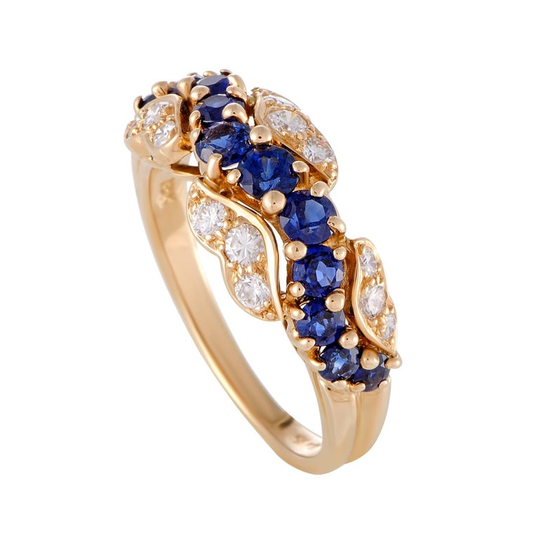 Oscar Heyman Diamond and Sapphire Yellow Gold Band Ring