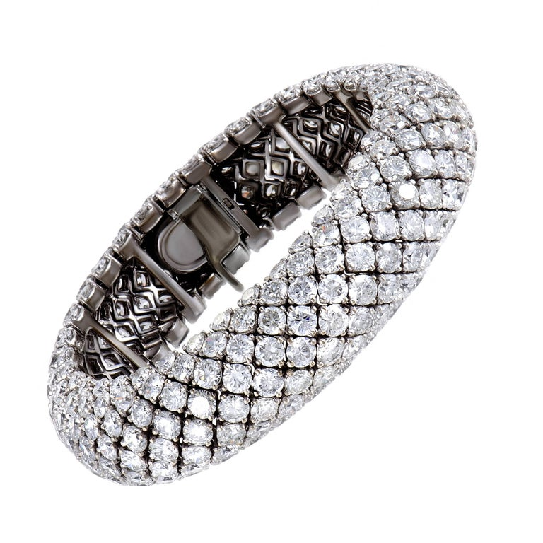 Diamond Pave and White Gold Bracelet