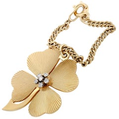 Tiffany & Co. Diamond Yellow Gold Four-Leaf Clover Key Chain