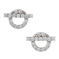 Hermes Finesse Full Diamond Pave White Gold Small Stud Earrings