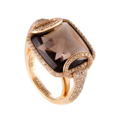 Deux Anneaux Diamond and Smoky Quartz Rose Gold Ring