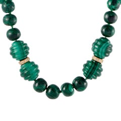 Diamond and Malachite Yellow Gold Beaded Choker Necklace