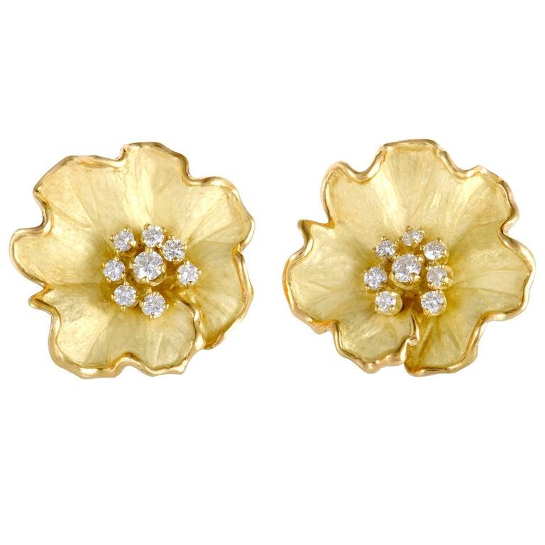 Diamond and Enamel Yellow Gold Flower Earrings For Sale