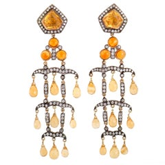 Diamond and Citrine Gold and Silver Long Chandelier Earrings