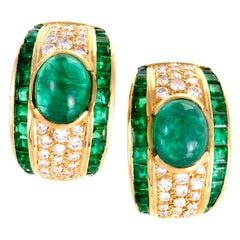 Emerald Diamond Pave Gold Clip-On Earrings