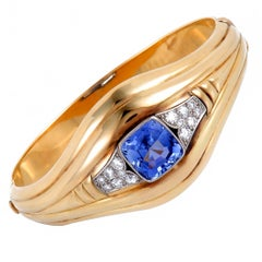 Diamond and Ceylon Sapphire Gold Bangle Bracelet