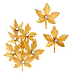 Diamond Yellow Gold Leaf Earrings and Brooch Set
