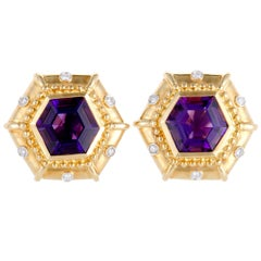Hexagonal Diamond and Amethyst Yellow Gold Earrings