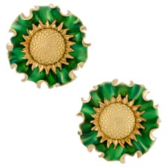 Lee Havens Enameled Yellow Gold Large Flower Clip-On Earrings