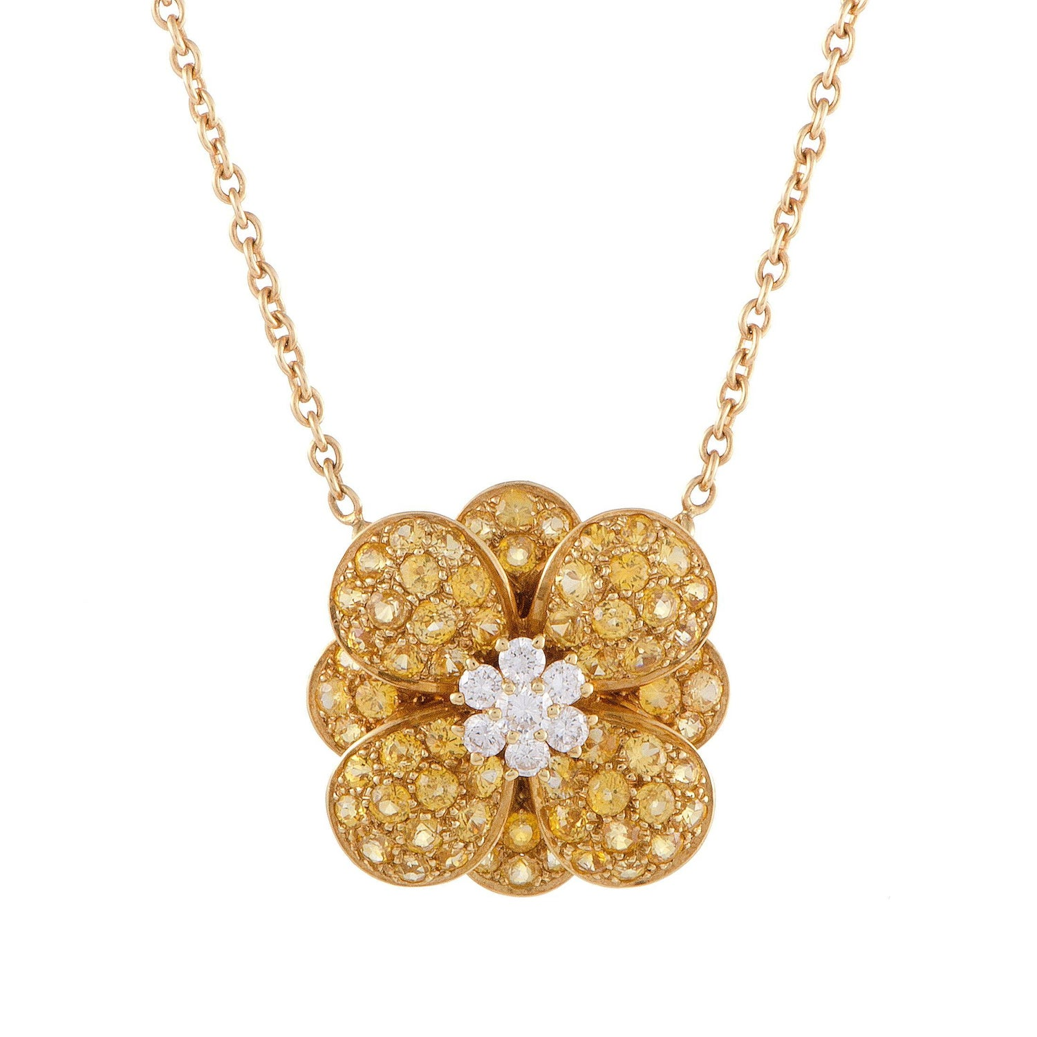 Van cleef amp arpels vca 18k yellow gold ruby cabochon amp diamond - Van Cleef Amp Arpels Diamond And Yellow Sapphire Gold Flower Pendant Necklace