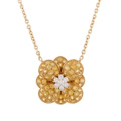 Van Cleef & Arpels Diamond and Yellow Sapphire Gold Flower Pendant Necklace
