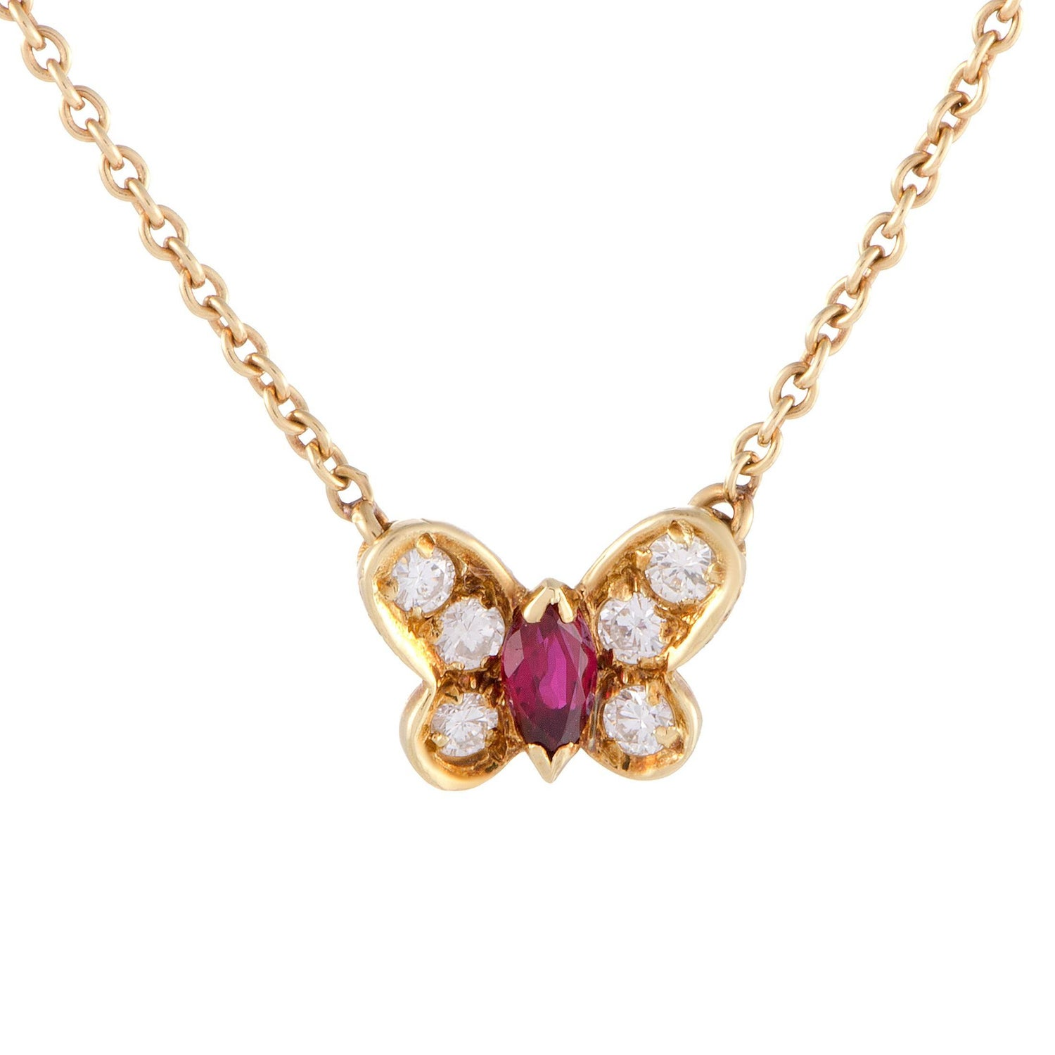 Van cleef amp arpels vca 18k yellow gold ruby cabochon amp diamond - Van Cleef Amp Arpels Diamond And Ruby Yellow Gold Butterfly Pendant Necklace
