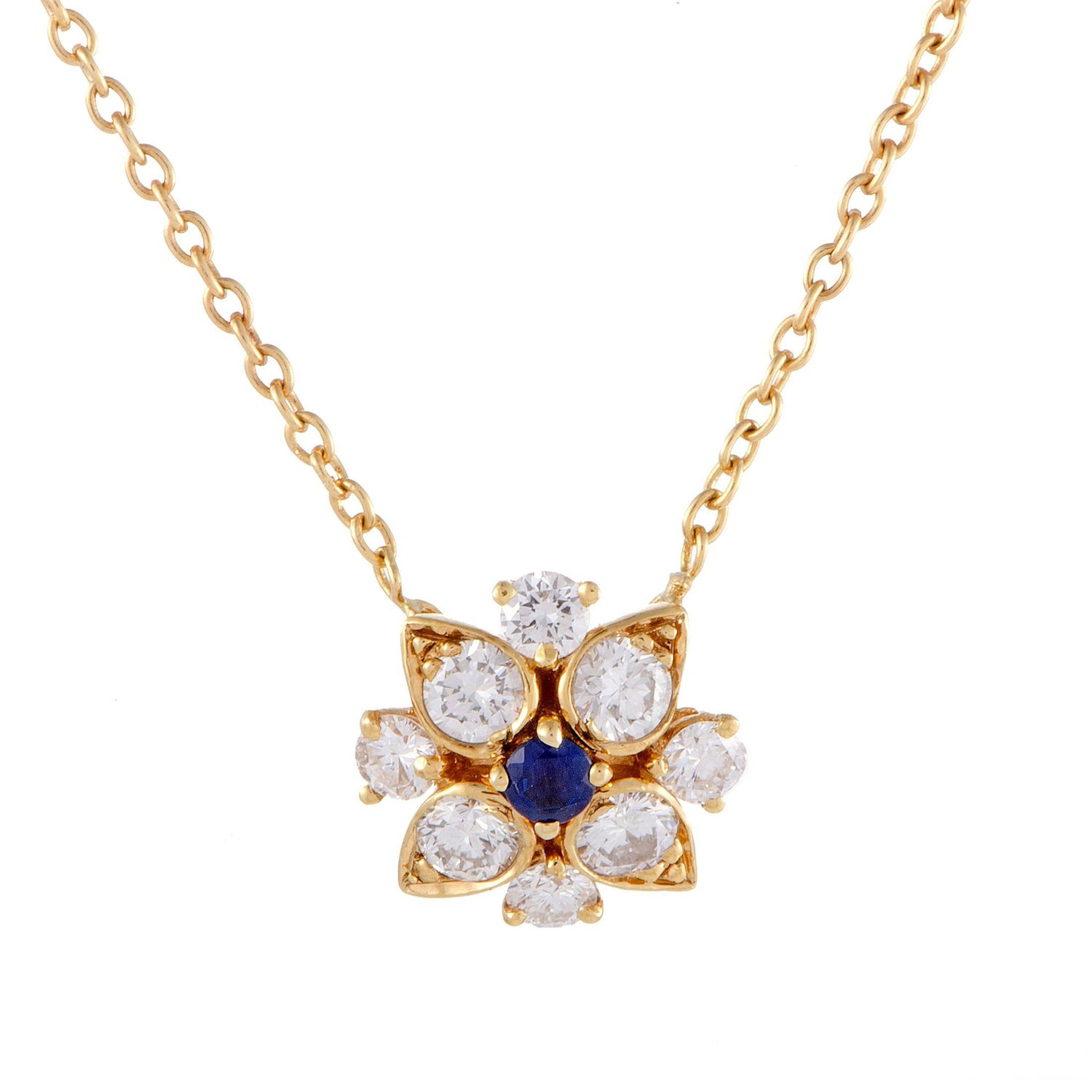 Van cleef amp arpels vca 18k yellow gold ruby cabochon amp diamond - Van Cleef Amp Arpels Diamond And Sapphire Yellow Gold Flower Pendant Necklace