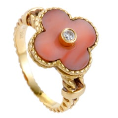 Van Cleef & Arpels Vintage Alhambra Diamond and Coral Yellow Gold Ring