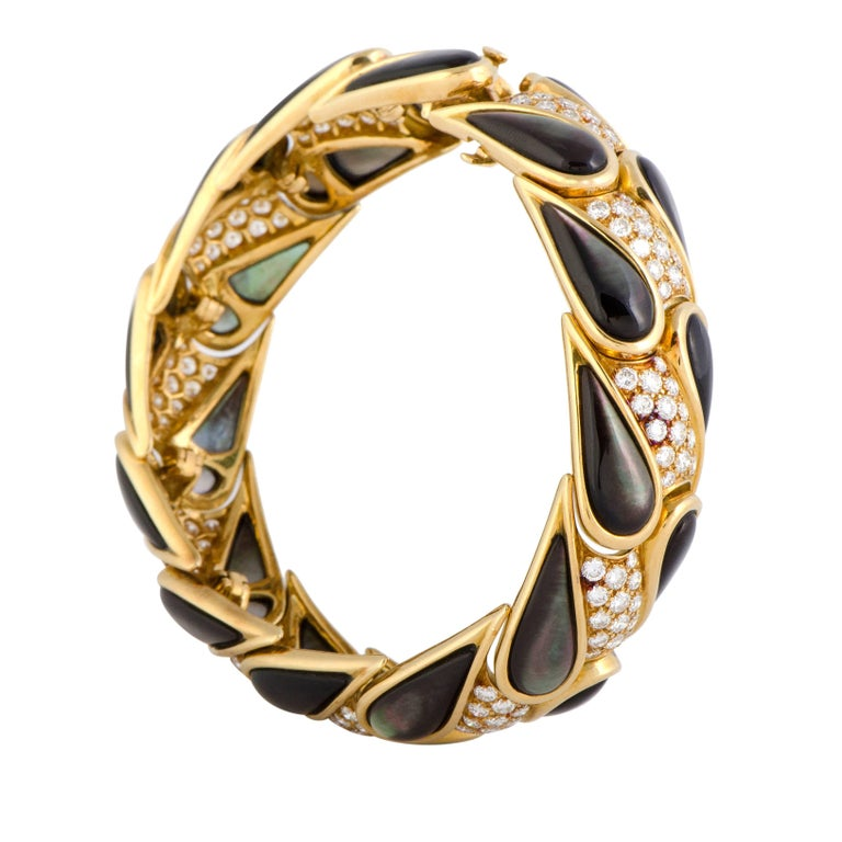 Mauboussin Diamond and Black Mother-of-Pearl Yellow Gold Bracelet
