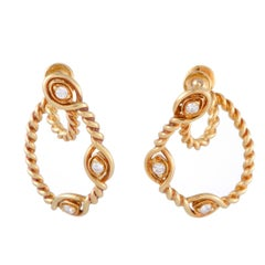 Dior Diamond Yellow Gold Rope Earrings