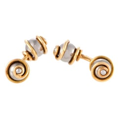 Louis Vuitton Yellow Gold and Stainless Steel Cufflinks