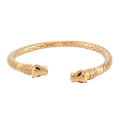 Cartier Panthere Diamond and Sapphire Yellow Gold Bangle