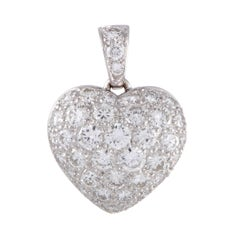 Cartier Full Diamond Pave White Gold Heart Pendant