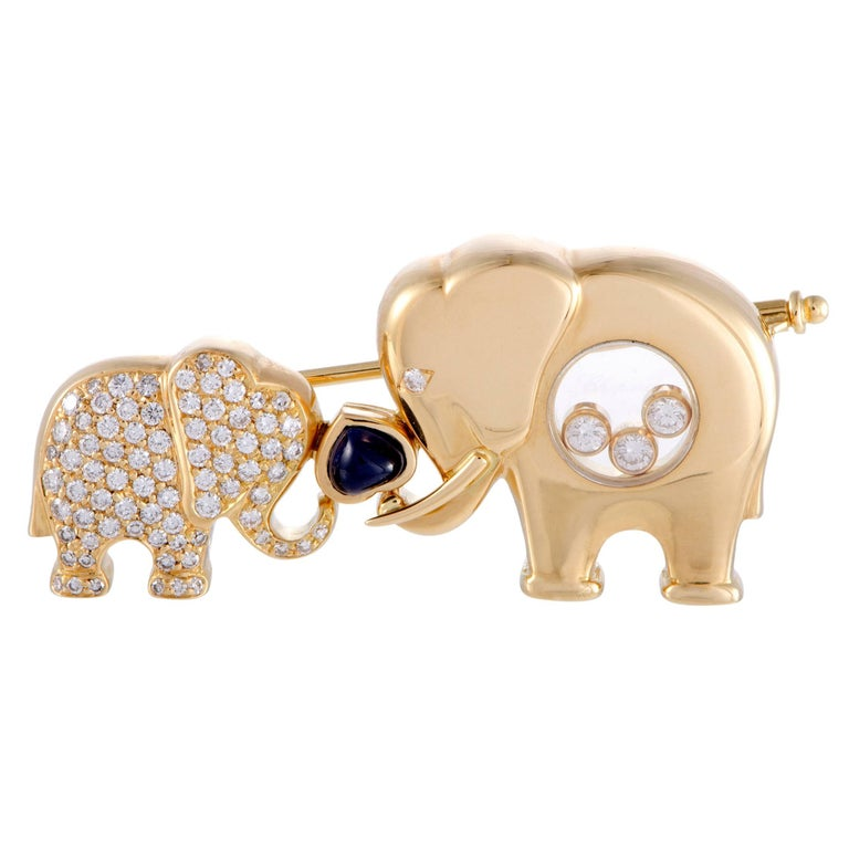 Chopard Diamond and Sapphire Elephants Brooch