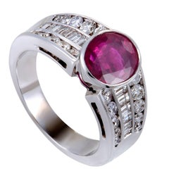 Diamond and Ruby White Gold Ring