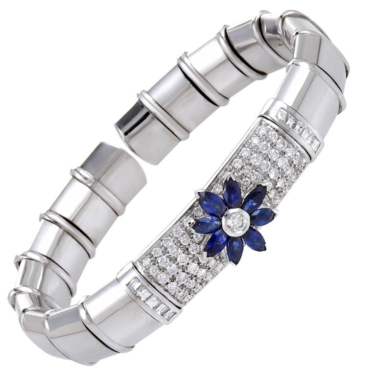 Diamond and Sapphire Flower White Gold Open Bangle Bracelet