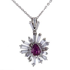 Diamond and Ruby White Gold Flower Pendant Necklace
