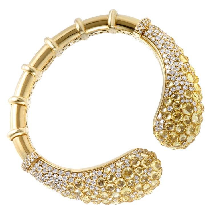 Mikimoto Diamond and Yellow Sapphire Yellow Gold Open Bangle Bracelet For Sale