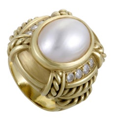Judith Ripka Diamond and Mabe Pearl Yellow Gold Ring
