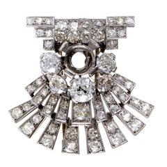 Full Diamond Pave Platinum Mounting Brooch