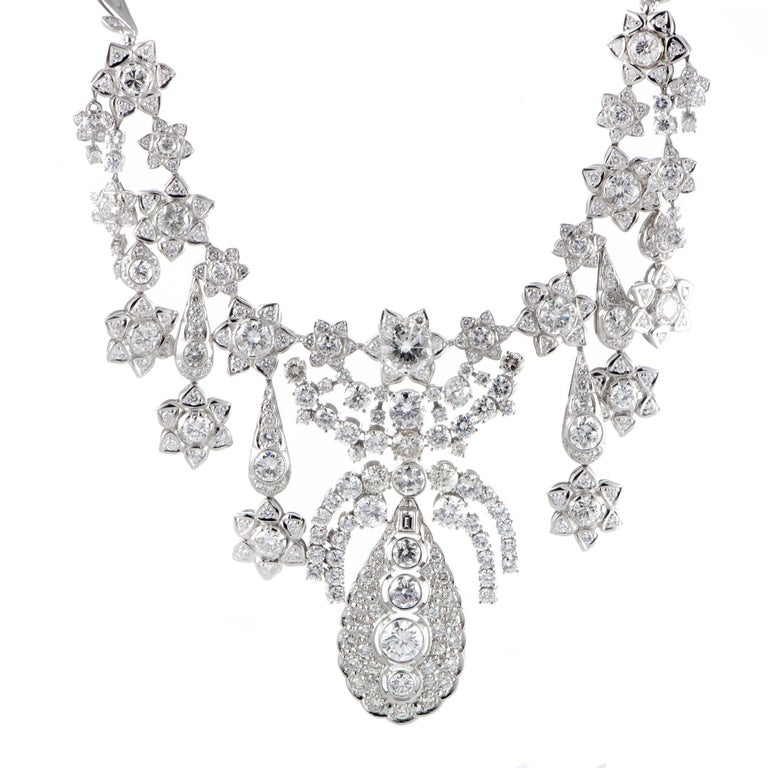 Large Diamond White Gold Floral Bib Necklace