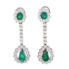 Full Diamond Pave and Emerald White Gold Long Drop Earrings