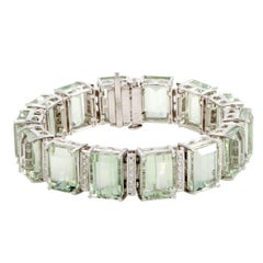 Diamond and Prasiolite White Gold Bracelet