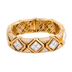 Bulgari Full Diamond Pave Yellow Gold and Platinum Bracelet