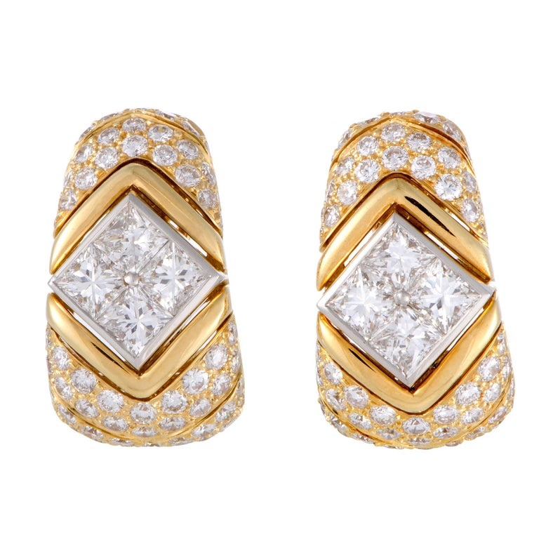 Bulgari Full Diamond Pave Yellow Gold and Platinum Clip-On Earrings For Sale