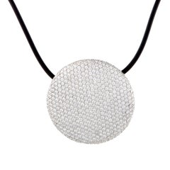 Vhernier Full Diamond Pave White Gold Disc and Cord Necklace