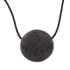 Vhernier Full Black Diamond Pave White Gold Disc and Cord Necklace