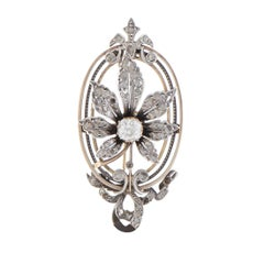 Diamond Yellow Gold and Silver Flower Pendant/Brooch