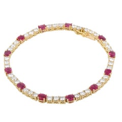 Diamond and Ruby Yellow Gold Tennis Bracelet
