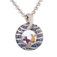 Chopard Happy Fish Diamond and Multi-Sapphire White Gold Pendant Necklace