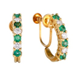 Tiffany & Co. Diamond and Emerald Yellow Gold Huggie Screw Back Earrings
