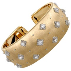 Buccellati Macri Diamond Yellow and White Gold Cuff Bracelet