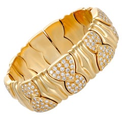 Bulgari Diamond Yellow Gold Bangle Bracelet