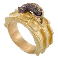 Yellow Gold Black Cat Band Ring