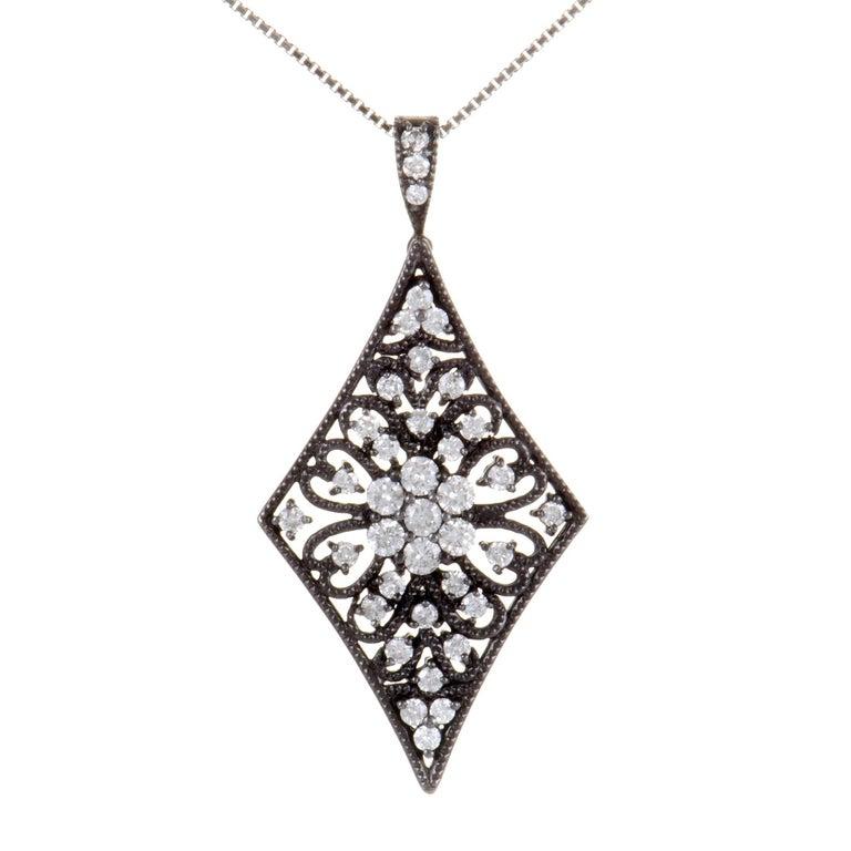 Floral Diamond White Gold Pendant Necklace For Sale