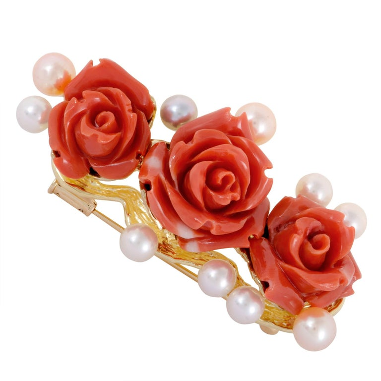 Pearls and Coral Roses Yellow Gold Pendant/Brooch 1