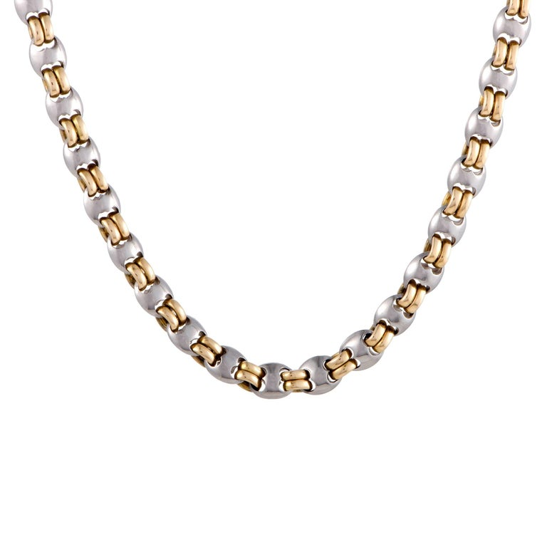 Bulgari Men's Yellow and White Gold Chain Necklace For Sale