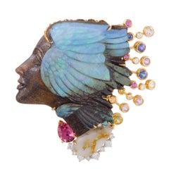 Diamond and Multiple Gem Stones Woman's Head Gold and Platinum Pendant/Brooch