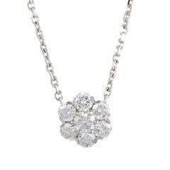 Van Cleef & Arpels Fleurette Large Diamond White Gold Pendant Necklace