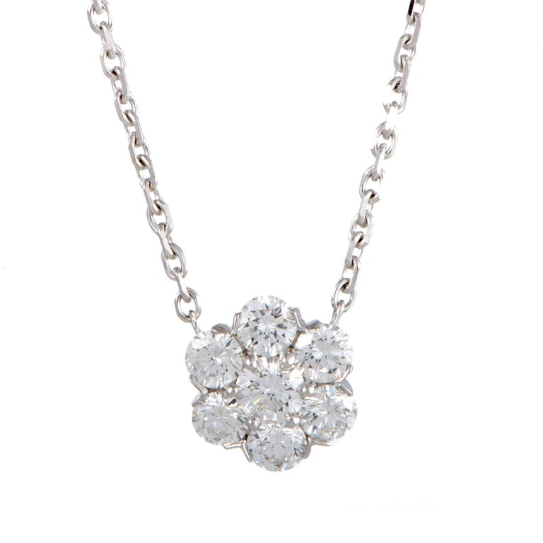 Van Cleef & Arpels Fleurette Large Diamond White Gold Pendant Necklace 1